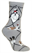 Shih Tzu Dog Breed Gray Lightweight Stretch Cotton Adult Socks