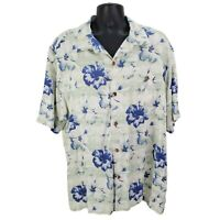 Tommy Bahama Aloha Hawaiian Shirt Floral Silk Button Front Short Sleeve Mens XXL
