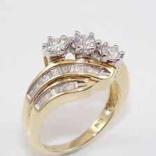 10K Yellow Gold 1.00ct Diamond Past Present Future Anniversary Ring Size 7 ZD