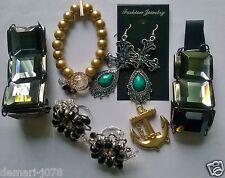 Joblot Fashion Jewellery, Earings/Bracelets/Rings/Pendant, Mixed Bling, New 7pcs