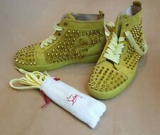 Christian Louboutin Louis Flat Gold Spikes High Top Yellow Sneakers - Size 36