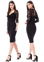 Goddess Black 3/4 Sleeve Scallop Lace Sweetheart Cocktail Party Evening Dress