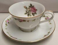 Vintage Noritake China RC Royal Crockery Cup & Saucer c1935-40s Pink Rose Japan