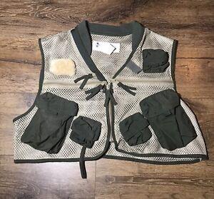 Columbia Performance Fishing Gear Khaki/Green Mesh Flyfishing Vest Men's Size L
