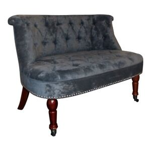 Westwood Occasional Chair Love Seat in Charcoal Soft Chenille with Castor Legs