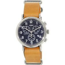 Timex Weekender Men's Tan Leather Blue Silver Steel Chronograph Watch TW2P62300