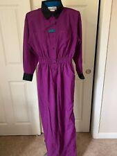Vintage 1980's Joan Walters Romper Jumpsuit Pantsuit Boiler Suit Purple Size 4