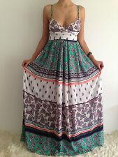 Women's Sleeveless Boho Floaty Paisley Crossover Summer Maxi Casual Dress Size 8