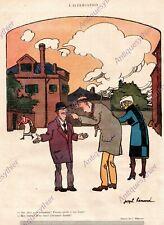 EMBROUILLE ALTERCATION FESSE JOSEPH HEMARD HUMOUR 1919 PRINT