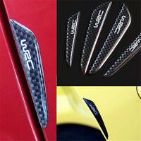 4PCS Black Carbon Fiber Car Side Door Edge Protection Guards Trims Stickers JT