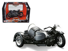 1948 HARLEY DAVIDSON FL WITH SIDE CAR BLACK 1/18 MOTORCYCLE BY MAISTO 03174
