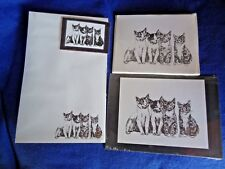 4 Kittens Line-up 4 Piece Set-Notepad, 6 Blank Notecards, Print and Magnet -New