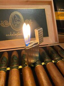 Davidoff (S.T.Dupont) Feuerzeug, silberf., Doppelflamme, inkl.Dupont Leder Hülle