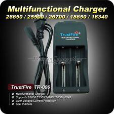 DOPPIO CARICABATTERIE per batterie 26650/25500/18650/14500 RICARICABILE a LITIO