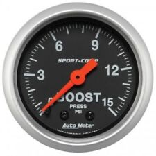 "Auto Meter 3302 2-1/16"" Sport-Comp Mechanical Boost Gauge, 0-15 PSI"