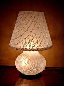 Murano mushroom lamp, white, for table,  70s, 20""