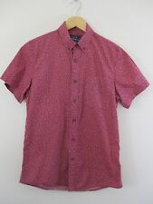 Topman Mans shirt UK. S. Dark pink/red. Tiny floral print. Button down collar.
