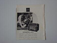 advertising Pubblicità 1941 RADIO SIEMENS 422