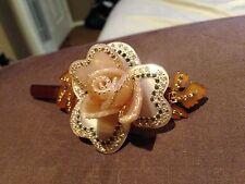 Rare Alexandre De Paris brown crystal 3D rose gold tone barrette