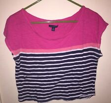 AEO - American Eagle outfitters Womens  Crop Top Pink Black White Stripped Small