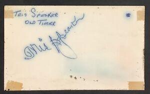 Tris Speaker Signed Index Card Baseball Autograph Boston Red Sox WSC HOF JSA