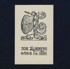 EXLIBRIS BOOKPLATE * Josef Vachal CZ * Uccello con molla Bird with feather