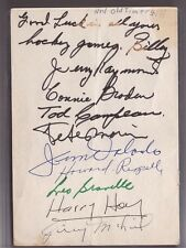 VINTAGE 1940's SIGNED MONTREAL CANADIENS AUTOGRAPH PAGE CONNIE BRODEN PETE MORIN