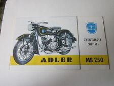 Archivio MOTO Edition fac simili 1019e ADLER MB 201 MB e 250 opuscoli