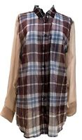 DRIES VAN NOTEN SEMI-SHEER PLAID SHIRT BLOUSE, 40, $995