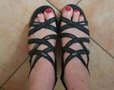 High Heel Riemchen Sandalette Gr. 39 schwarz Absatz Damen Schuhe Leder Neu Pumps