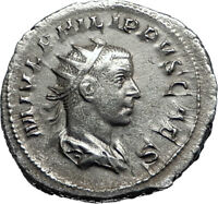 PHILIP II Roman Caesar with globe 244AD Rome Silver Ancient Roman Coin i67134