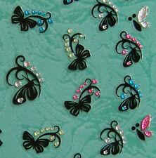 Nail Art 3D Sticker Color Crystal Decal Black Paper Cut Butterfly 43pcs/sheet