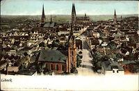 Lübeck Schleswig Holstein um 1900 Panorama Blick Vogelschau-Perspektive color AK