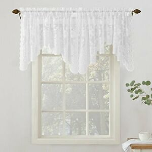 """No. 918 24525 Alison Floral Lace Sheer Rod Pocket Curtain Valance 58"""" x 32"""" W..."""