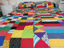 VIntage Style Traditional Hand Stitched Multi Coloured Patchwork Quilted Throw