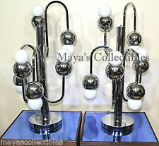 Mid Century Table Lamps Robert Sonneman Space Age Atomic Chrome Pair Original