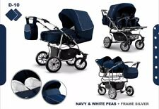3 in 1 Double Pushchair Buggy for Twins with Car Seats