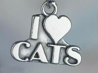 """925 STERLING silver 18"""" chain necklace LOVE CATS PET DAINTY women mom free box"""