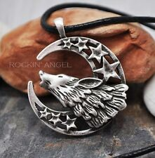 Antique Silver Plt Wolf Howling At Moon & Stars Pendant Necklace, Norse Viking