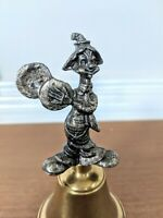 Vintage Clown Bell Pewter & Brass Cymbals Joy Happy Ringing Dinner Bell Circus