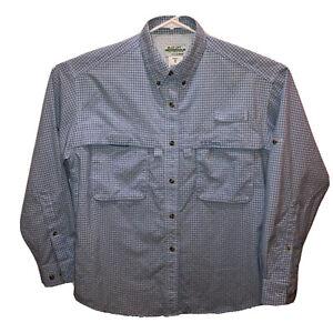L L Bean Women Medium Blue Plaid Buzz Off Insect Shield Vented Long Sleeve Shirt