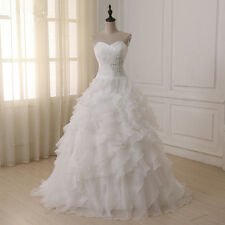 New Cheap Stock Wedding Dresses Vestidos De Novia Organza Ruffled Bridal Gowns