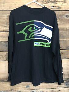 Mens Majectic Seattle Sea Hawks Long Sleeve T Shirt Sz XL Black