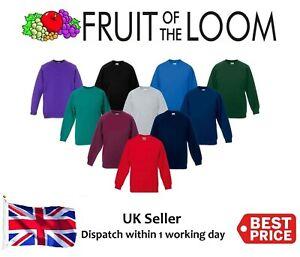 RW Fruit of the Loom Classic Childrens Sweatshirt Uniform Jumper Girls SS271