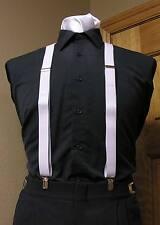 "suspenders 1""  Men's clip-on x back longer retro costume steampunk cosplay mylar"