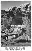 Vintage RPPC Postcard Bridge over Colorado River Moab Utah nature real photo