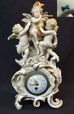 B1 19èm MEISSEN rare pendulette pendule porcelaine 1.3kg 31cm putti saxe angelot