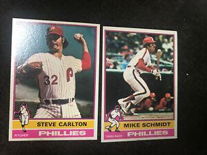 STEVE CARLTON & MIKE SCHMIDT 1976 Topps #355 & #480Philadelphia Phillies