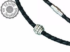 3mm BLACK BRAIDED LEATHER & TIBETAN SILVER NECKLACE CHOKER MAGNET STEEL CLASP