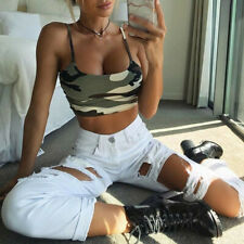 Women Lady Camouflage Sleeveless Tank Top Bustier Bra Vest Crop Top Blouse Shirt